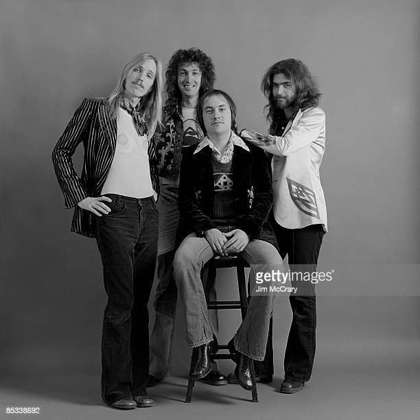 Tom Petty Mike Campbell Randall Marsh and Tom Leadon of the rock and roll band 'Mudcrutch' pose for a portrait session in December 1974 in Los...