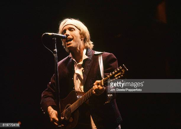 Tom Petty performing on stage at the Wembley Arena in London on the 24th March 1992