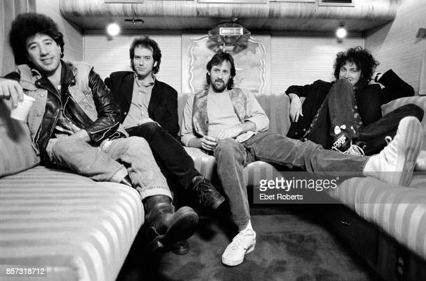 Tom Petty's band The Heartbreakers on their tour bus at the Nassau Coliseum in Uniondale New York on January 31 1990 Howie Epstein Benmont Tench Stan...