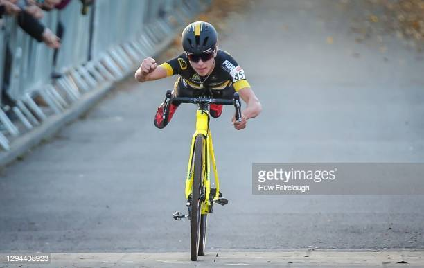 Tom Pidcock of Telenet Fidea Lions takes the win in a superman psition in Round 2 National Trophy on October 29, 2017 in Abergavenny, Wales.
