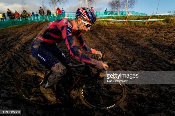 Tom Pidcock wins The Senior Men's Trophy Race during the HSBC UK National Cyclo-Cross Championships at Shrewsbury Sports Village on January 12, 2020...