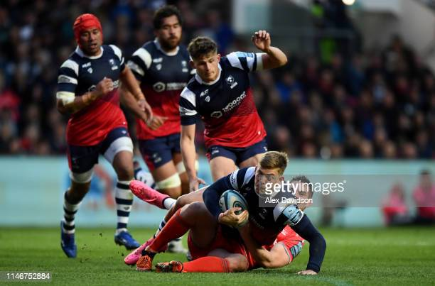 Tom Pincus of Bristol Bears is tackled by James O'Connor of Sale Sharks during the Gallagher Premiership Rugby match between Bristol Bears and Sale...