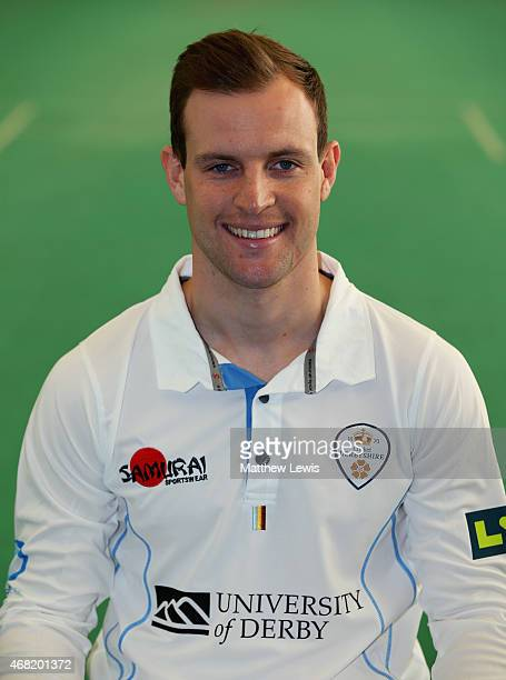 Tom Poynton of Derbyshire pictured during a Derbyshire CCC Photocall at The 3aaa County Ground on March 31 2015 in Derby England