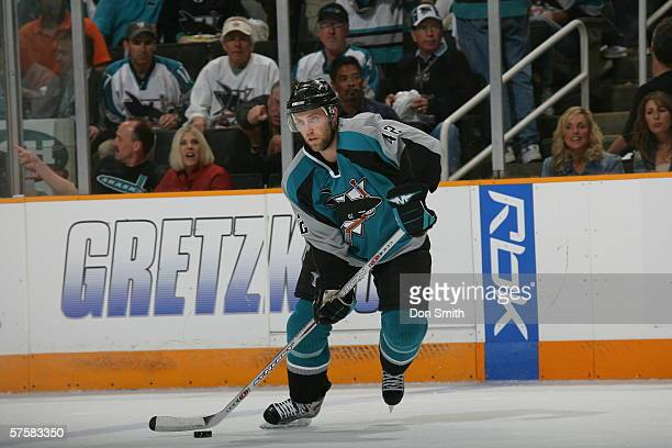Tom Preissing of the San Jose Sharks skates with the puck during Game 2 of the Western Conference Semifinals against the Edmonton Oilers on May 8,...