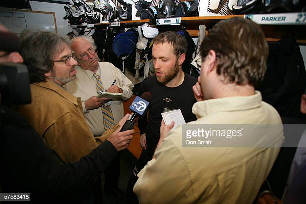 Tom Preissing of the San Jose Sharks talks with the media following Game 2 of the Western Conference Semifinals against the Edmonton Oilers on May 8,...