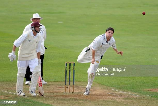Tom Pringle of York bowls during the Kingfisher Beer Cup Final between York and Wanstead Snaresbrook at The County Ground on September 16 2012 in...