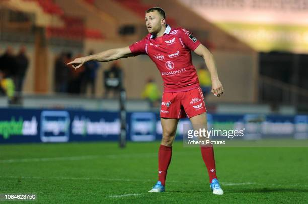 Tom Prydie of Scarlets during the Guinness Pro14 Round 09 match between the Scarlets and Ulster Rugby at the Parc Y Scarlets Stadium on November 23...