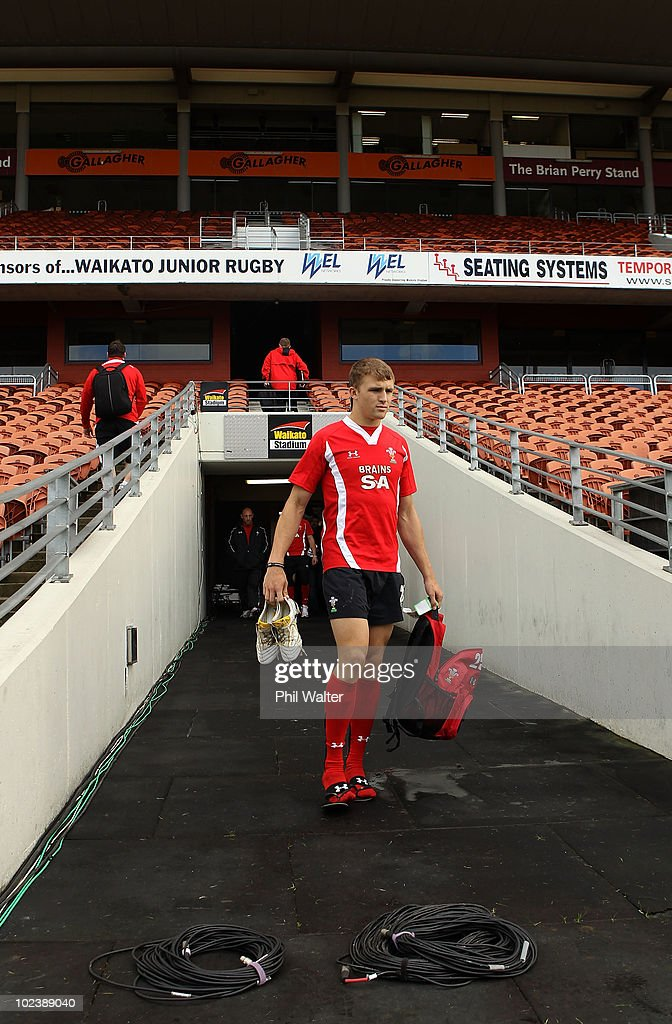 Tom Prydie of Wales arrivees for the Wales Captain's Run at Waikato Stadium on June 25, 2010 in Hamilton, New Zealand.