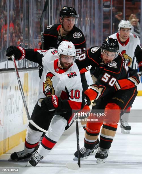 Tom Pyatt of the Ottawa Senators battles for position against Antoine Vermette of the Anaheim Ducks during the game on December 6 2017 at Honda...