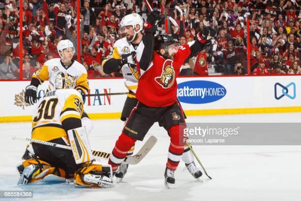Tom Pyatt of the Ottawa Senators celebrates his third period goal against Matt Murray of the Pittsburgh Penguins in Game Four of the Eastern...