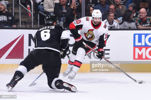 Tom Pyatt of the Ottawa Senators handles the puck against Jake Muzzin of the Los Angeles Kings at STAPLES Center on December 7 2017 in Los Angeles...