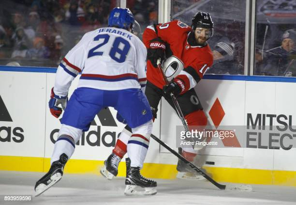 Tom Pyatt of the Ottawa Senators shoots the puck past Jakub Jerabek of the Montreal Canadiens during the third period of the 2017 Scotiabank NHL100...