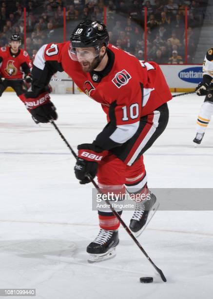 Tom Pyatt of the Ottawa Senators skates against the Boston Bruins at Canadian Tire Centre on December 9 2018 in Ottawa Ontario Canada