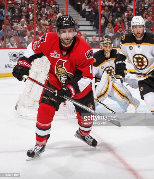 Tom Pyatt of the Ottawa Senators skates against the Boston Bruins in Game Two of the Eastern Conference First Round during the 2017 NHL Stanley Cup...