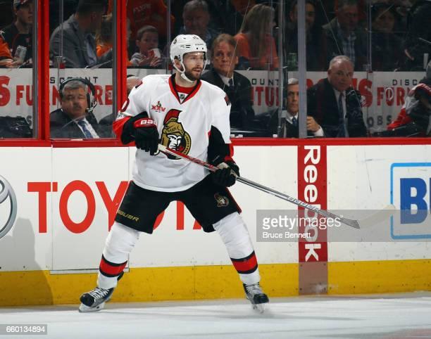 Tom Pyatt of the Ottawa Senators skates against the Philadelphia Flyers at the Wells Fargo Center on March 28 2017 in Philadelphia Pennsylvania The...