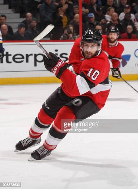 Tom Pyatt of the Ottawa Senators skates against the St Louis Blues at Canadian Tire Centre on January 18 2018 in Ottawa Ontario Canada