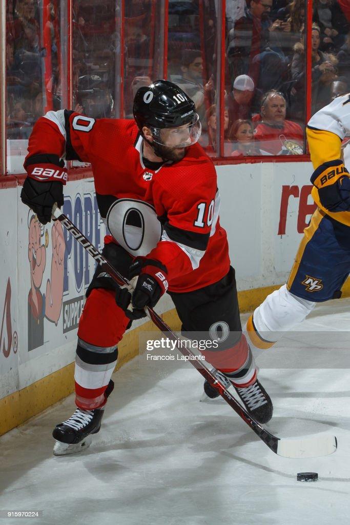 Tom Pyatt  10 of the Ottawa Senators skates with the puck against the  Nashville Predators 90177593128