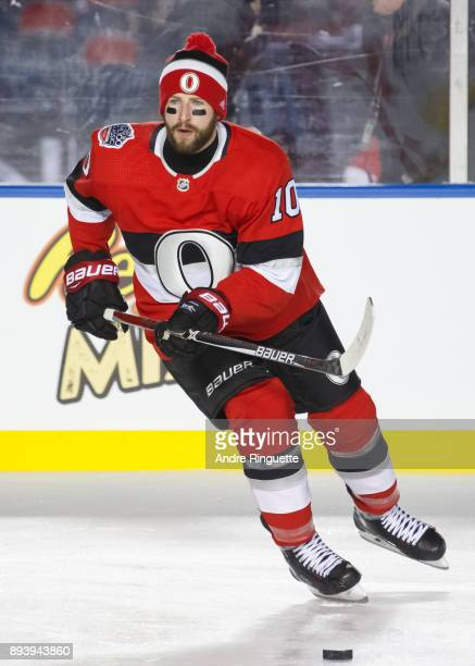 Tom Pyatt of the Ottawa Senators skating with the puck during warmup prior to the 2017 Scotiabank NHL100 Classic against the Montreal Canadiens at...