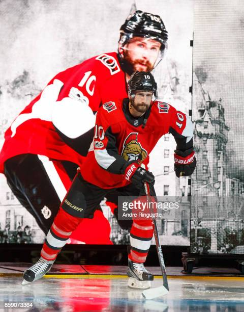 Tom Pyatt of the Ottawa Senators steps onto the ice during player introductions prior to the home opener against the Washington Capitals at Canadian...