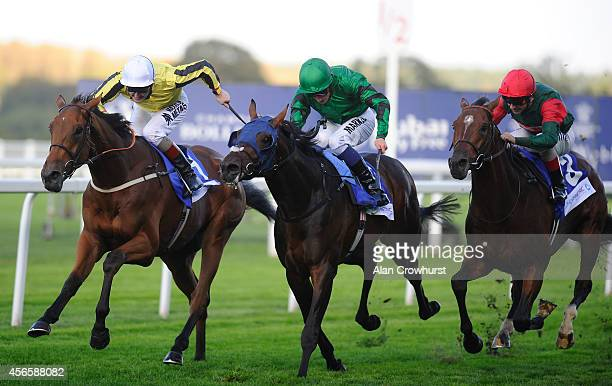 Tom Queally riding Big Orange win The Londonmetric Noel Murless Stakes at Ascot racecourse on October 03 2014 in Ascot England