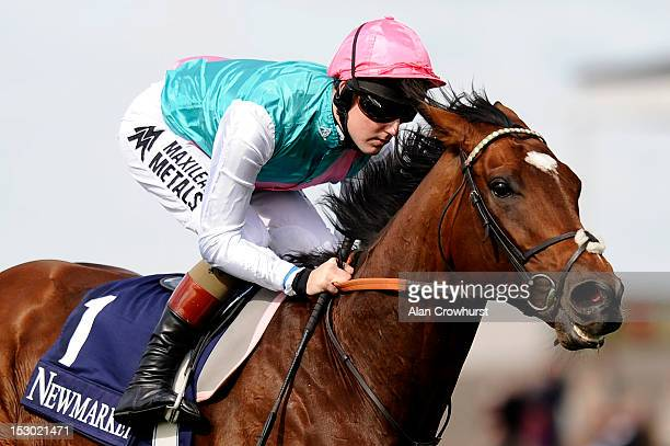 Tom Queally riding Frankel in a racecourse gallop before racing at Newmarket racecourse on September 29 2012 in Newmarket England