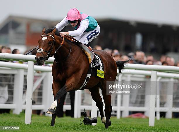 Tom Queally riding Frankel win The totesportcom Greenham Stakes at Newbury racecourse on April 16 2011 in Newbury England