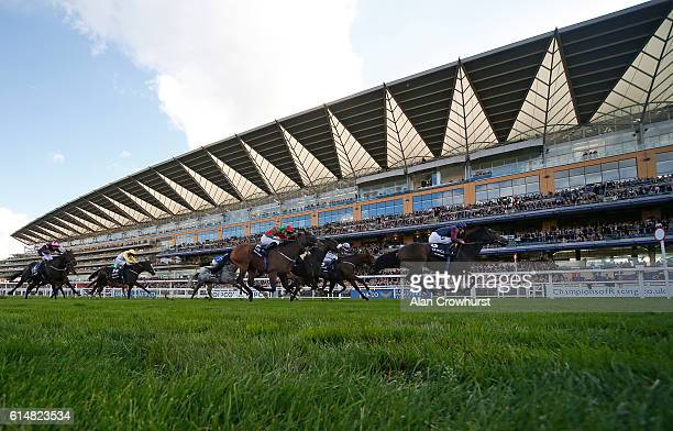 Tom Queally riding The Tin Man win The Qipco british Champions Sprint Stakes at Ascot Racecourse on October 15 2016 in Ascot England
