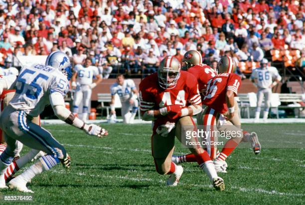 Tom Rathman of the San Francisco 49ers in action against the Detroit Lions during the an NFL football game October 2 1988 at Candlestick Park in San...