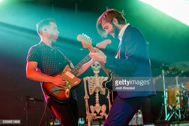 Tom Renaud and Ben Schneider of Lord Huron perform during the Bonnaroo Music Arts Festival on June 12 2016 in Manchester Tennessee