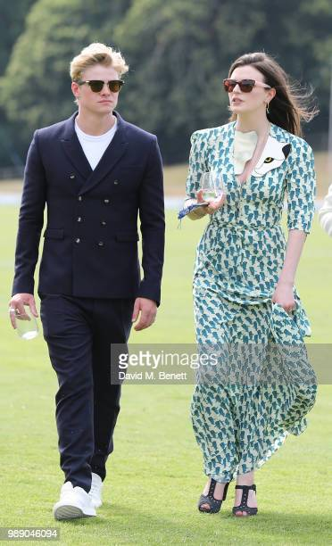 Tom Rhys Harries and Aisling Bea attend the Audi Polo Challenge at Coworth Park Polo Club on July 1 2018 in Ascot England