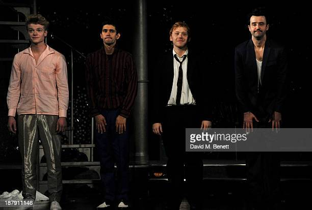 Tom Rhys Harries Ben Whishaw Rupert Grint and Daniel Mays bow at the curtain call during the press night performance of 'Mojo' at the Harold Pinter...