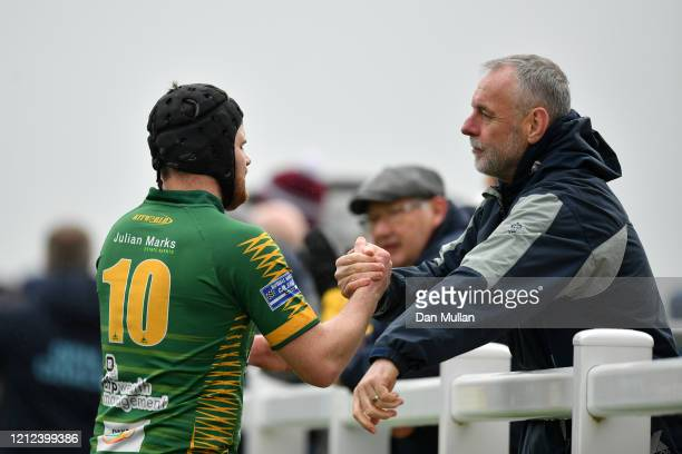 Tom Richards of Plymstock Albion Oaks is congratulated following his side's victory during the Lockie Cup Semi Final match between Old Plymouthian...