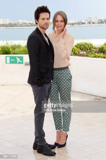 Tom Riley and Laura Haddock attend photocall for the tv series'Da Vinci's Demons' at MIP TV 2013 on April 8 2013 in Cannes France