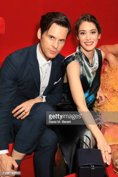 Tom Riley and Lizzy Caplan pose the Netflix BAFTA after party at Chiltern Firehouse on February 2, 2020 in London, England.