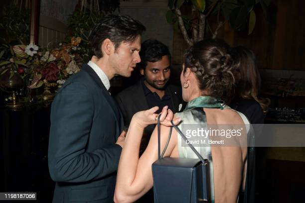 Tom Riley, Aziz Ansari and Lizzy Caplan pose the Netflix BAFTA after party at Chiltern Firehouse on February 2, 2020 in London, England.
