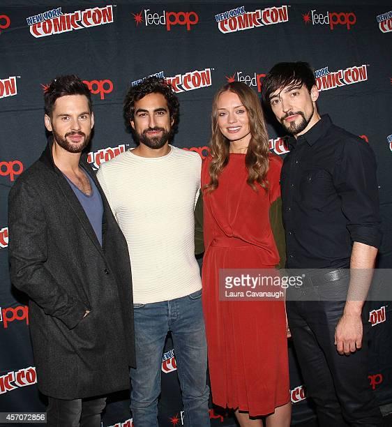 "Tom Riley, Gregg Chillin, Laura Haddock and Blake Ritson in the Press Room for ""Da Vinci's Demons"" at 2014 New York Comic Con - Day 3 at Jacob Javitz..."