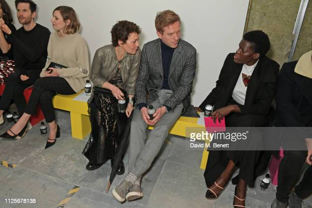 Tom Riley, Laura Carmichael, Helen McCrory, Damian Lewis and Sheila Atim attend the Christopher Kane show during London Fashion Week February 2019 on...