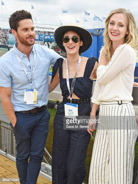 Tom Riley Lizzy Caplan and Portia Freeman celebrate with Moet Ice Imperial in the Moet Chandon Suite whilst watching the action unfold on Centre...