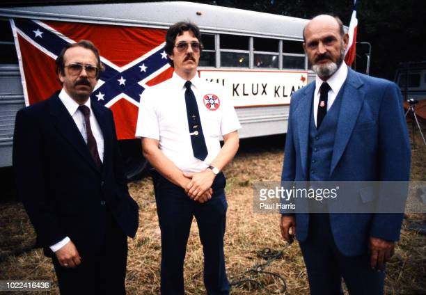 Tom Robb chaplain and editor of White Patriot Stanley McCollum a Grand Wizard at a Ku Klux Klan march May 4 1989 in Stone Mountain Georgia