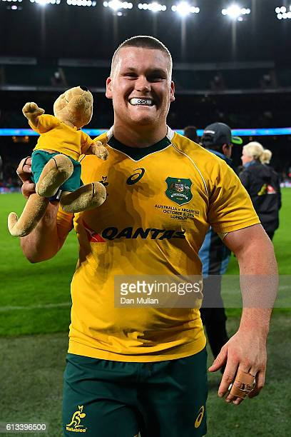 Tom Robertson of Australia celebrates with the wallaby mascot at th end of The Rugby Championship match between Argentina and Australia at Twickenham...