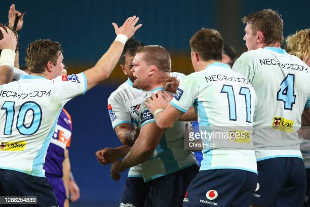 Tom Robertson of the NSW Waratahs celebrates after scoring a try during the round seven Super Rugby AU match between the Western Force and the...