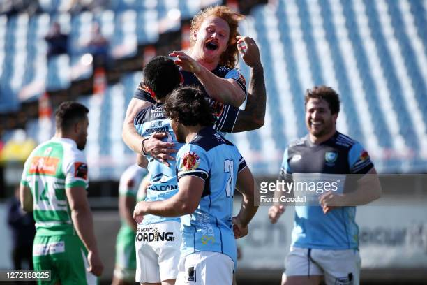 Tom Robinson of Northland celebrates a try with Rene Ranger during the round 1 Mitre 10 Cup match between Northland and Manawatu at Semenoff Stadium...