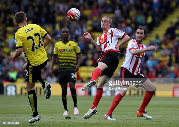 Tom Robson of Sunderland and Almen Abdi of Watford in action during the Barclays Premier League match between Watford and Sunderland at Vicarage Road...