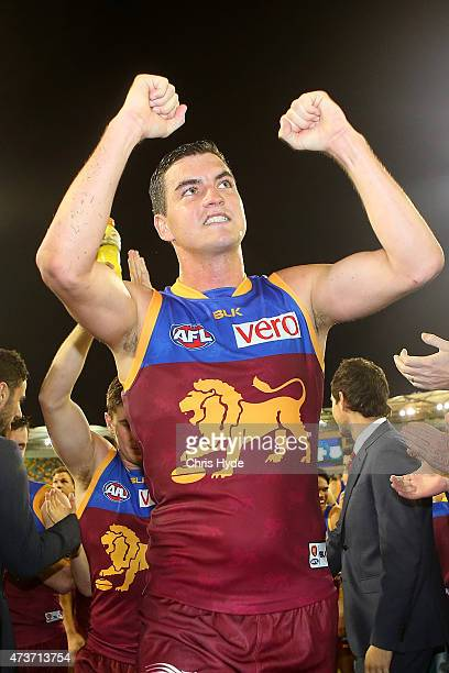 Tom Rockcliff of the Lions celebrates winning the round seven AFL match between the Brisbane Lions and the Port Adelaide Power at The Gabba on May 17...