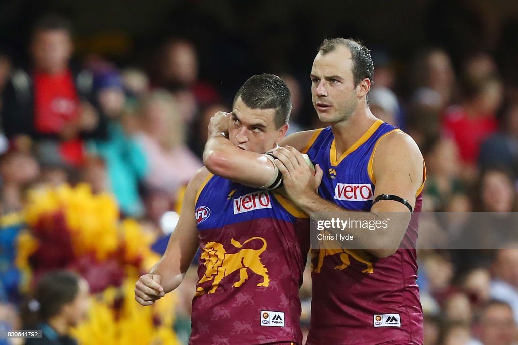 Tom Rockliff of the Lions celebrates a goal during the round 21 AFL match between the Brisbane Lions and the Gold Coast Suns at The Gabba on August 12, 2017 in Brisbane, Australia.
