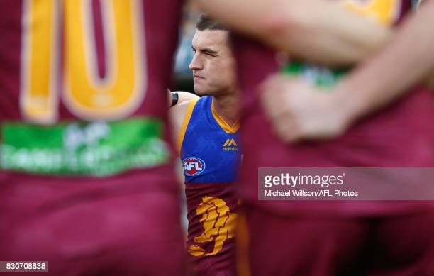 Tom Rockliff of the Lions looks on during the 2017 AFL round 21 match between the Brisbane Lions and the Gold Coast Suns at the Gabba on August 12...