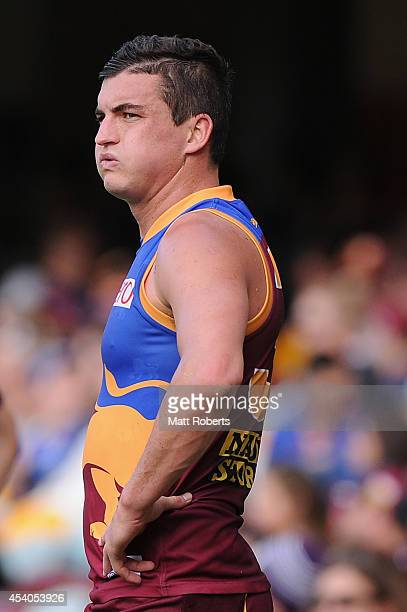 Tom Rockliff of the Lions looks on during the round 22 AFL match between the Brisbane Lions and the Fremantle Dockers at The Gabba on August 24 2014...