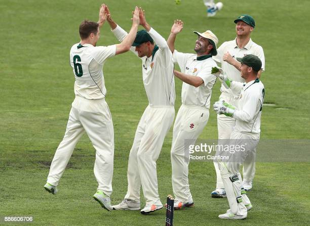 Tom Rogers of Tasmania celebrates taking the wicket of Steve O'Keefe of NSW during day four of the Sheffield Shield match between New South Wales and...