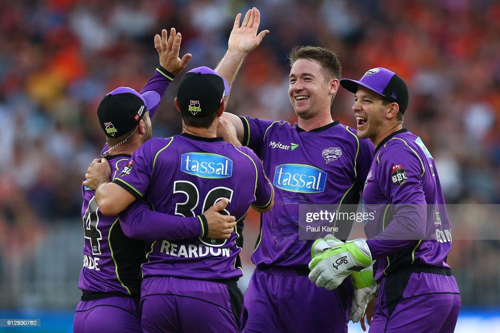 Tom Rogers of the Hurricanes celebrates the wicket of Michael Klinger of the Scorchers during the Big Bash League Semi Final match between the Perth Scorchers and the Hobart Hurricanes at Optus Stadium on February 1, 2018 in Perth, Australia.