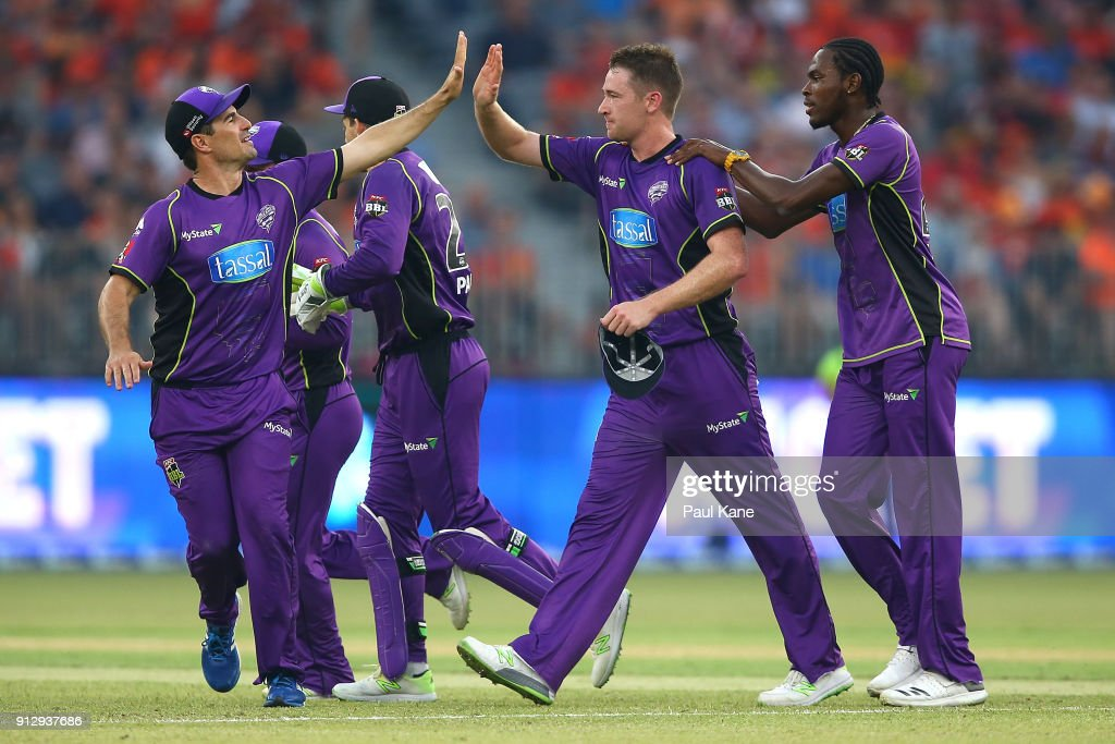 Tom Rogers of the Hurricanes celebrates the wicket of Shaun Marsh of the Scorchers during the Big Bash League Semi Final match between the Perth Scorchers and the Hobart Hurricanes at Optus Stadium on February 1, 2018 in Perth, Australia.